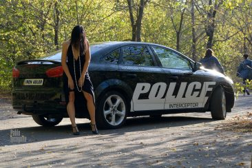Striptease near the police car. Nude photoshoot by Pablo Incognito