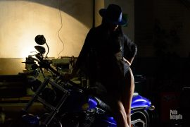 Photo session of NUDE Glamor in the garage. Girl and Harley. Iren Adler. Pablo Incognito