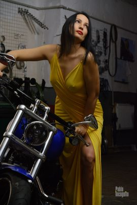 Girl and Harley - a photo session with a motorcycle - nude and glamor, with elements of striptease. Pablo Incognito