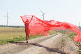 Nude girl in a transparent fabric in the wind. Nude photo by Pablo Incognito
