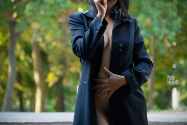 Girl in a raincoat on a naked body. Nude photographer Pablo Incognito