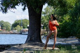 Nude photoshoot with bottomless on the shore. Pablo Incognito, Iren Adler