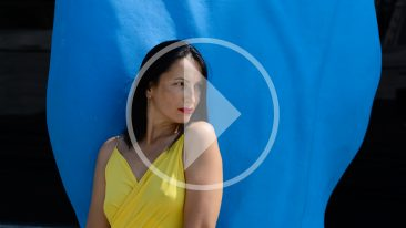 Nude model Iren Adler poses near the Blue Hand travel monument. Video by Pablo Incognito