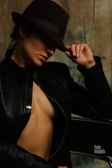 Girl in a black jacket on a naked body. Nude photo by Pablo Incognito