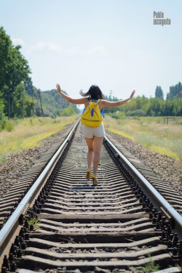Nude photoshoot on rails with striptease. Nude photo by Pablo Incognito