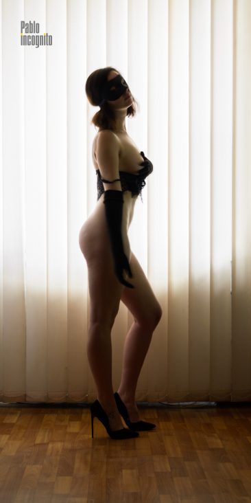 Girl posing nude in a black mask. Photoshoot in the office. Nude photo by Pablo Incognito