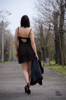 Woman in peignoir in the park. Nude photoshoot Pablo incognito