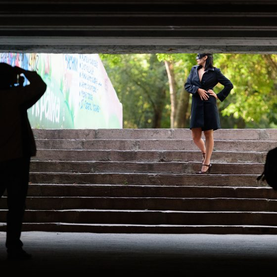 Backstage from the nude photo shoot in the underpass. Photographer Pablo Incognito