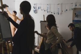 Nude in the artist's studio. Nude photographer Pablo Incognito