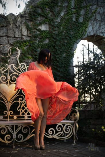 The girl in a light dress poses gracefully and undresses. New photo by Pablo Incognito