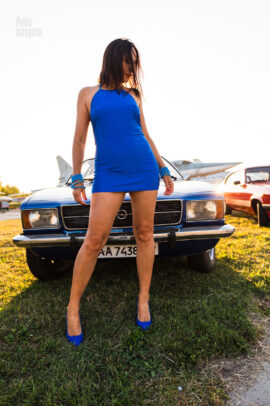 A girl in a very short dress and a car Opel Record 1900. Nude photo by Pablo Incognito