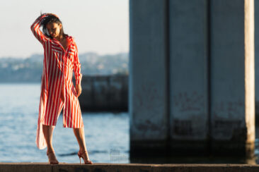 Nude photo shoot under the city bridge. Erotic with perspective. Photographer Pablo Incognito