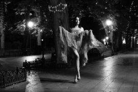 Burlesque, bottomless, nude photo session on the boulevard at night in Odessa. Photo by Pablo Incognito