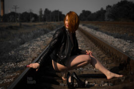 Glamorous photo session on the rails. Debut of a red-haired woman. Nude photo by Pablo Incognito