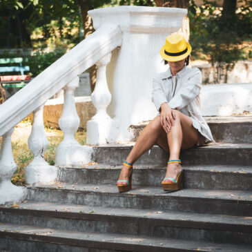 New model Iren Adler poses on the steps in the park. Photo by Pablo Incognito
