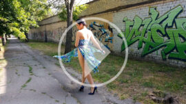 Video of nude walk of bottomless near graffiti. Photo by Pablo Incognito